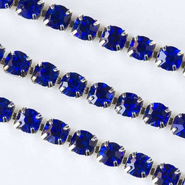 Silver Base Metal 3mm Rhinestone Cup Chain with Sapphire Blue Crystals - 1 foot