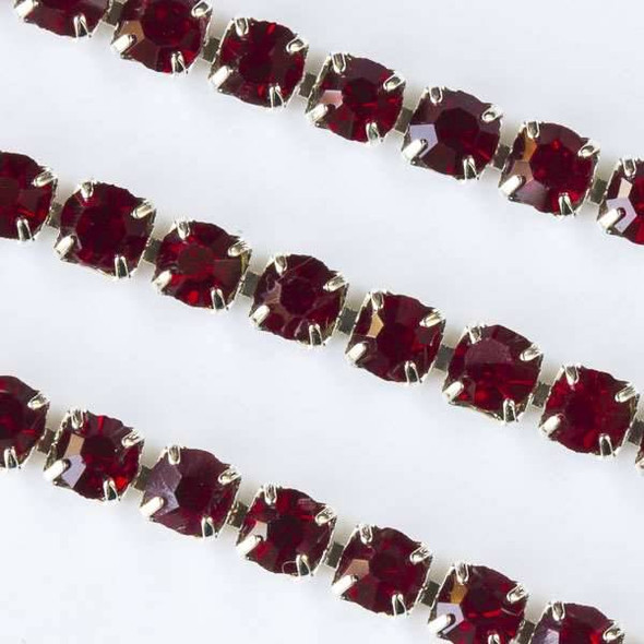 Silver Base Metal 3mm Rhinestone Cup Chain with Garnet Red Crystals - Spool