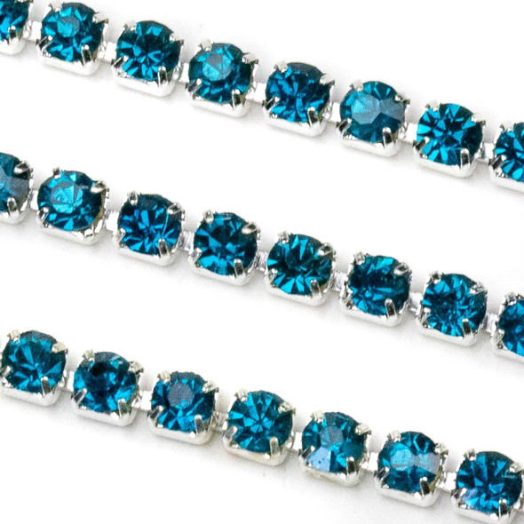 Silver Base Metal 3mm Rhinestone Cup Chain with Dark Aqua Blue Crystals - 1 foot