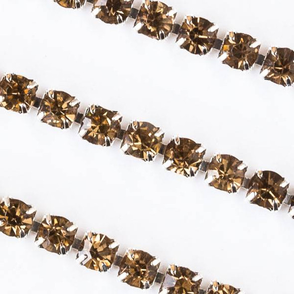 Silver Base Metal 3mm Rhinestone Cup Chain with Citrine Yellow Crystals - Spool