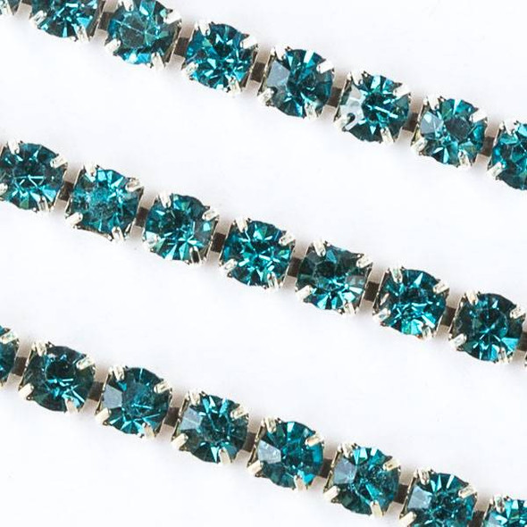 Silver Base Metal 3mm Rhinestone Cup Chain with Aqua Blue Crystals - 1 foot