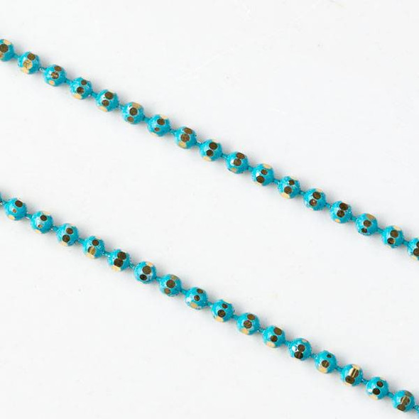 Turquoise Blue and Gold 1.5mm Ball Chain - chainball1.5gldtq - 1 foot
