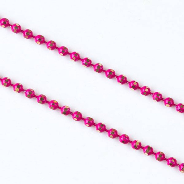 Hot Pink and Gold 1.5mm Ball Chain - chainball1.5gldhtpnk - 25 yard spool