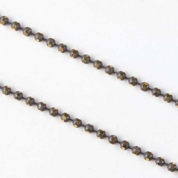 Grey and Gold 1.5mm Ball Chain - chainball1.5gldgry - 1 foot