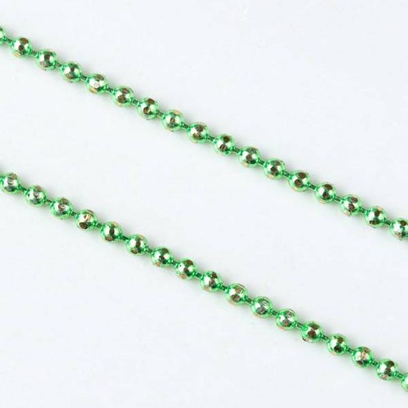 Green and Gold 1.5mm Ball Chain - chainball1.5gldgrn - 25 yard spool
