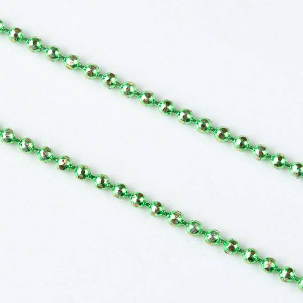 Green and Gold 1.5mm Ball Chain - chainball1.5gldgrn - 1 foot