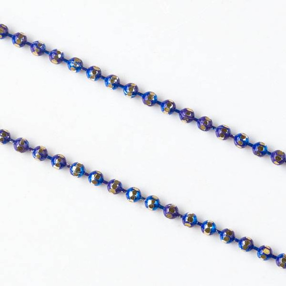 Cobalt Blue and Gold 1.5mm Ball Chain - chainball1.5gldcob - 1 foot