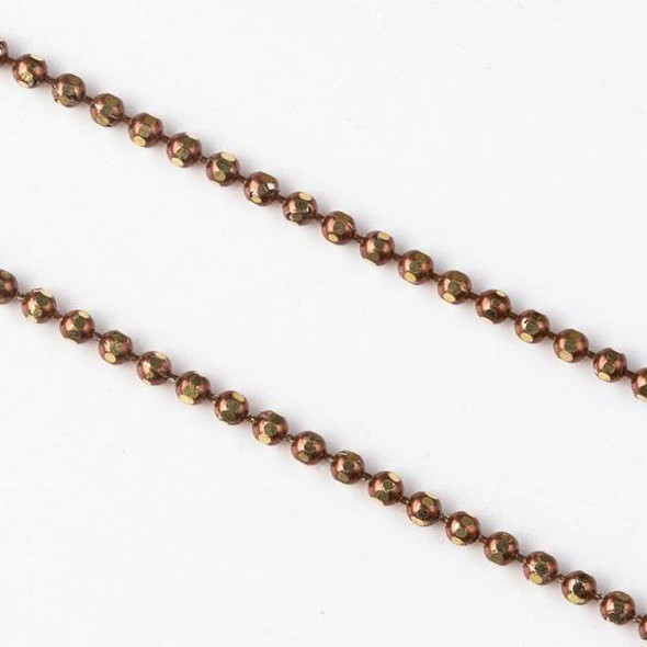 Bronze and Gold 1.5mm Ball Chain - chainball1.5gldbrnz - 25 yard spool