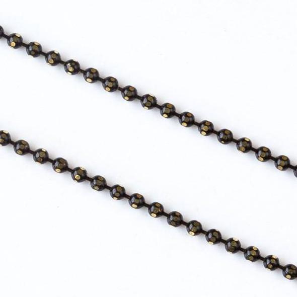 Black and Gold 1.5mm Ball Chain - chainball1.5gldblk - 25 yard spool