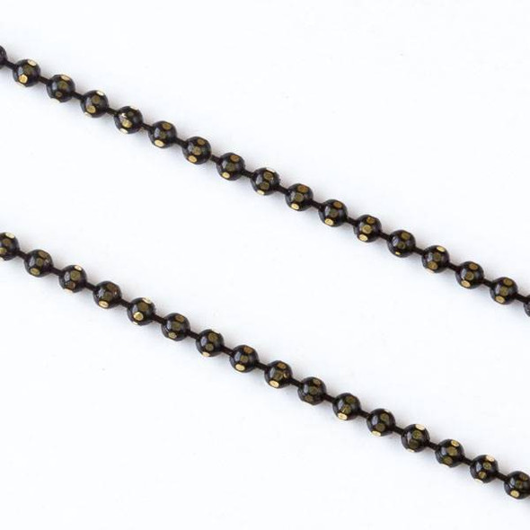Black and Gold 1.5mm Ball Chain - chainball1.5gldblk - 1 foot