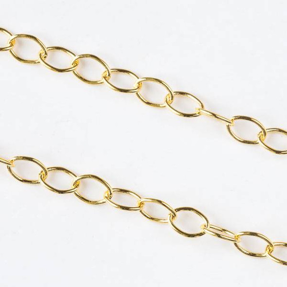 Gold Brass Chain with 5x7mm Soldered Oval Links - chain280Sg - 1 foot