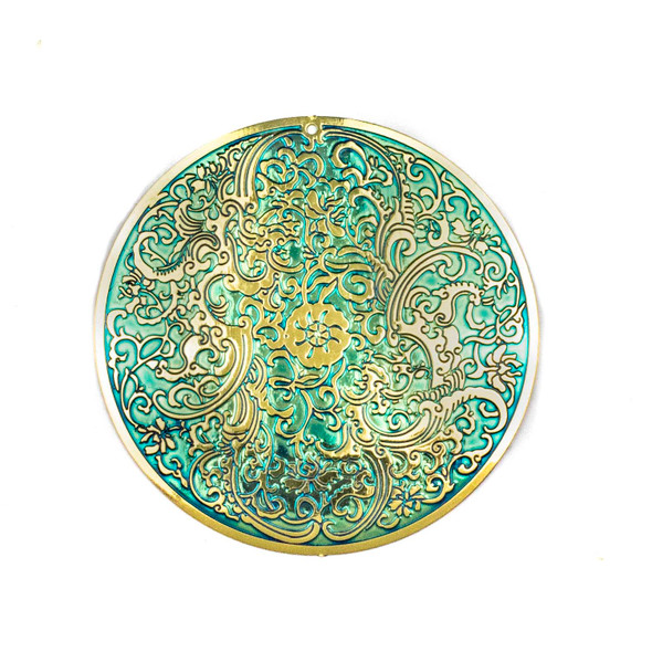 Enameled Brass 50mm Coin Finding with Turquoise Green Background and Embossed Flower Pattern - 1 per bag