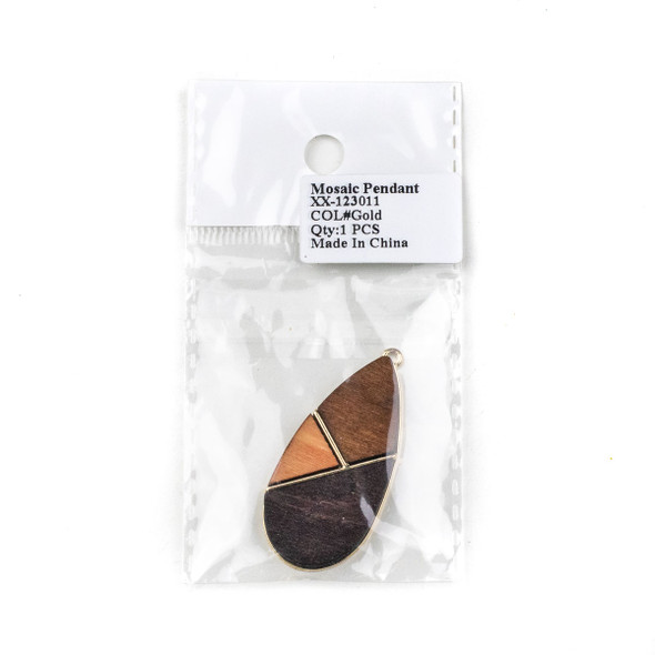 Mosaic Aspen Wood & Gold Colored Pewter 22x48mm Teardrop Geometric Pendant - 1 per bag