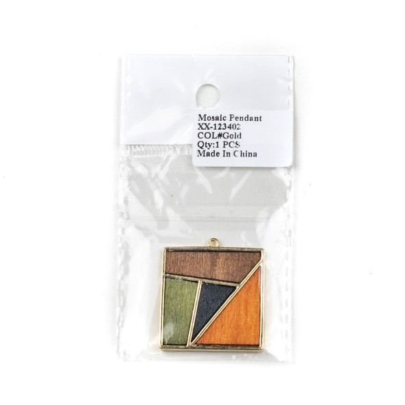 Mosaic Aspen Wood & Gold Colored Pewter 32x36mm Square Geometric Pendant - 1 per bag