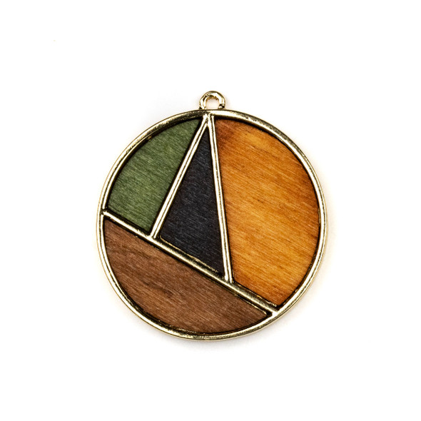 Mosaic Aspen Wood & Gold Colored Pewter 35x38mm Coin Geometric Pendant - 1 per bag