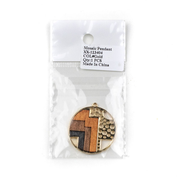 Mosaic Aspen Wood & Gold Colored Pewter 35x38mm Coin Geometric and Cut Out Pendant - 1 per bag
