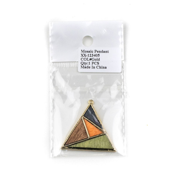 Mosaic Aspen Wood & Gold Colored Pewter 38x40mm Triangle Geometric Pendant - 1 per bag