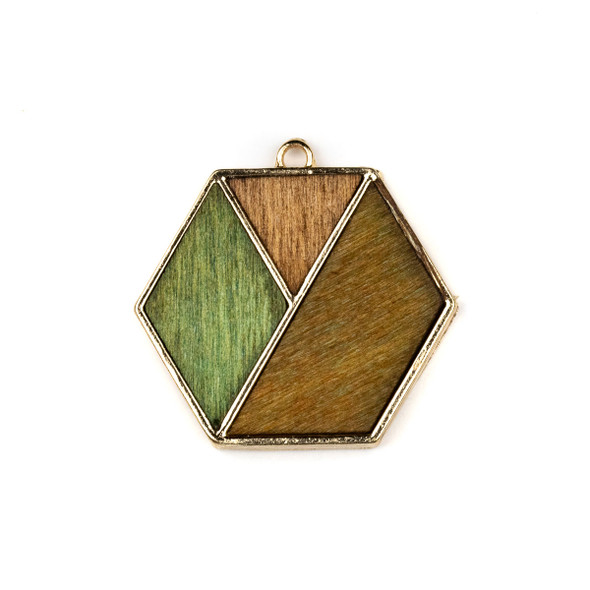 Mosaic Aspen Wood & Gold Colored Pewter 34x35mm Hexagon Geometric Pendant - 1 per bag