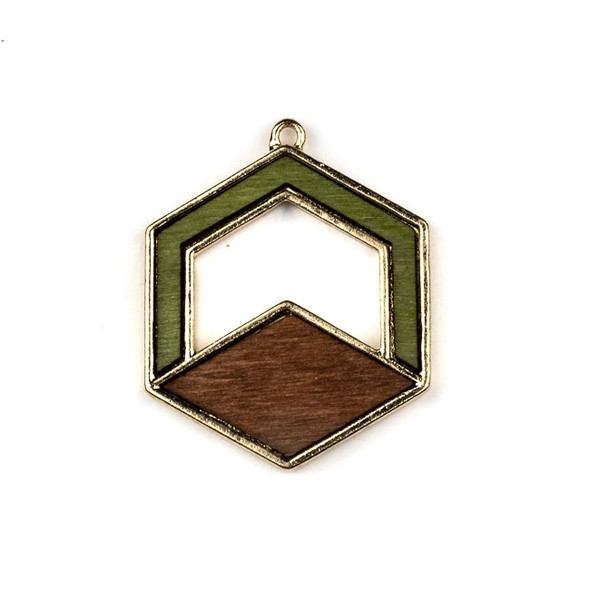 Mosaic Aspen Wood & Gold Colored Pewter 31x38mm Hexagon Pendant - 1 per bag