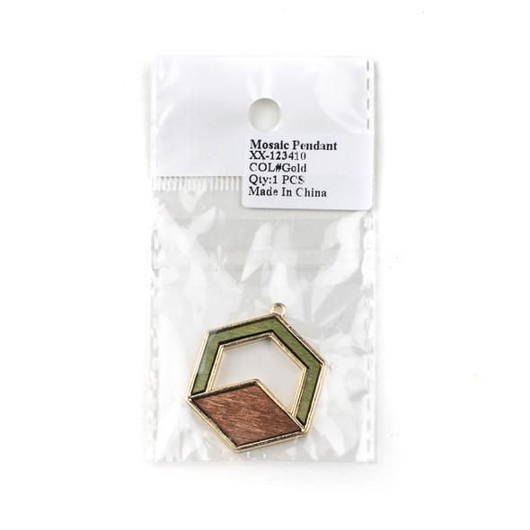 Mosaic Aspen Wood & Gold Colored Pewter 31x38mm Hexagon Pendant - 1 per bag