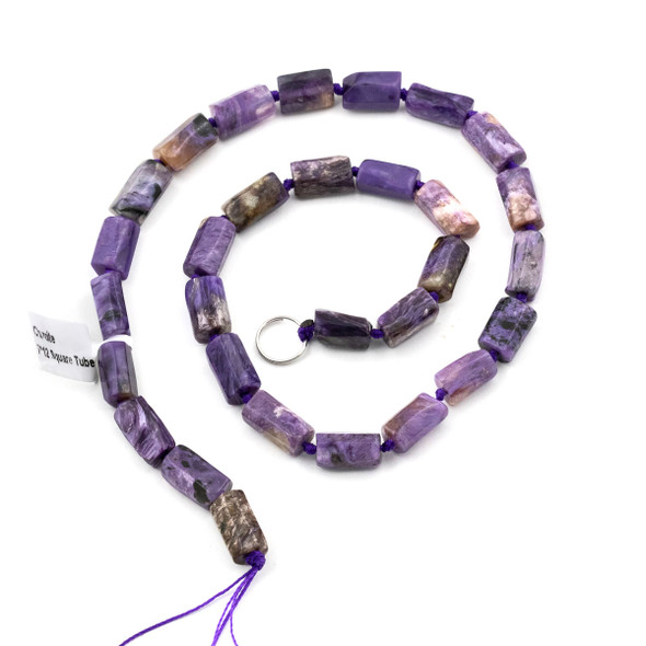 Charoite 8x12mm Irregular Square Tube Beads - 15.5 inch strand