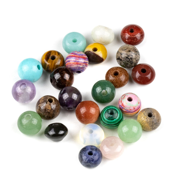 25 Mixed Smooth Large Hole 12mm Gemstone Round and Rondelle Beads
