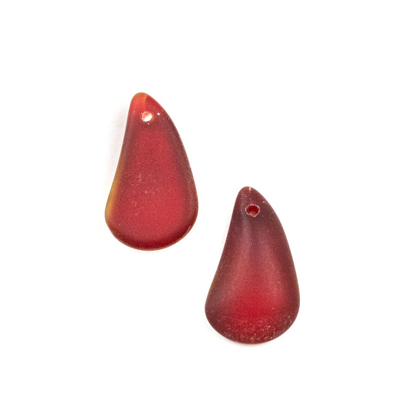 Matte Glass, Sea Glass Style 13x21mm Cherry Red Irregular Teardrop Pendants - 2 per bag