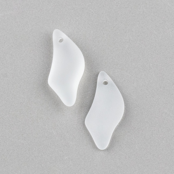 Matte Glass, Sea Glass Style 12x25mm Clear White Wave Drop Pendants - 2 per bag