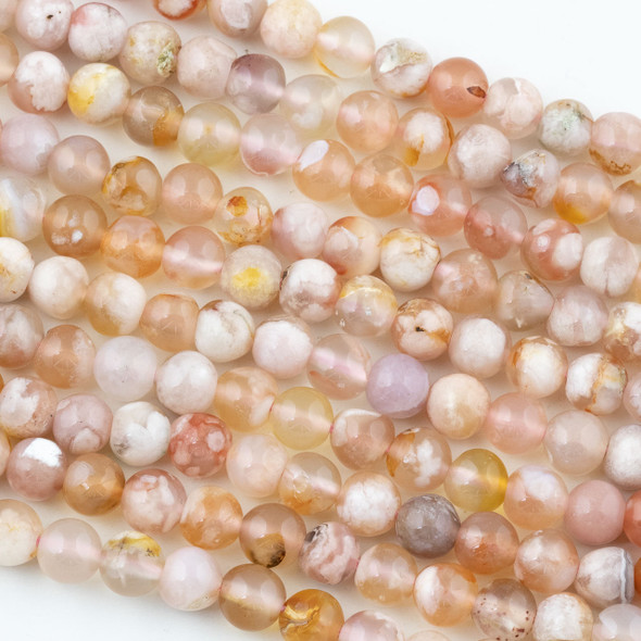 Cherry Blossom Agate 7mm Round Beads - 15 inch strand