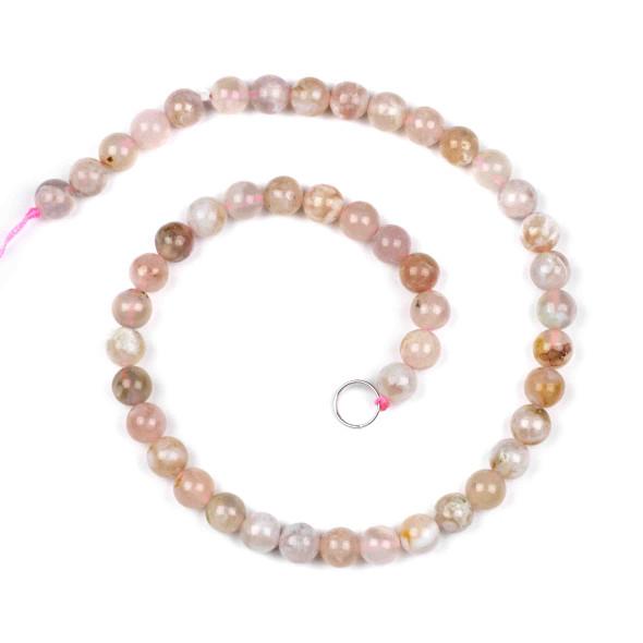 Cherry Blossom Agate 8mm Round Beads - 15 inch strand