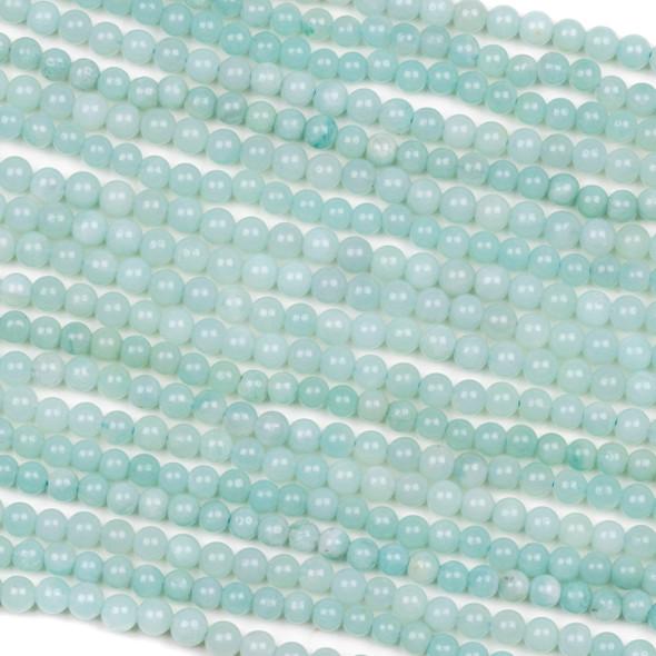 Blue Amazonite 4mm Round Beads - 15 inch strand