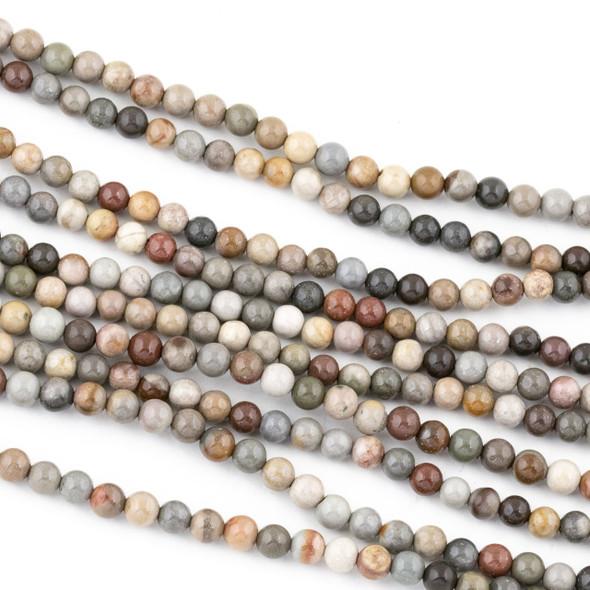 Polychrome Jasper 4mm Round Beads - 15 inch strand