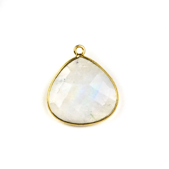 Moonstone 22x25mm Almond Drop with a Gold Plated Brass Bezel - 1 per bag