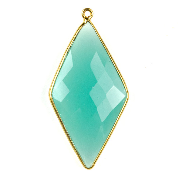 Aqua Chalcedony approximately 21x44mm Diamond Drop with a Gold Plated Brass Bezel - 1 per bag