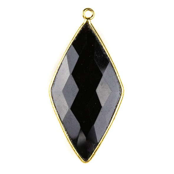 Onyx approximately 21x44mm Diamond Drop with a Gold Plated Brass Bezel - 1 per bag
