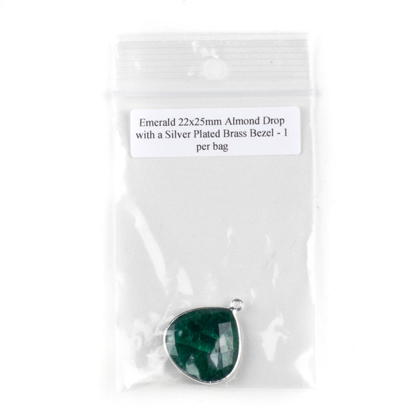 Emerald 22x25mm Almond Drop with a Silver Plated Brass Bezel - 1 per bag