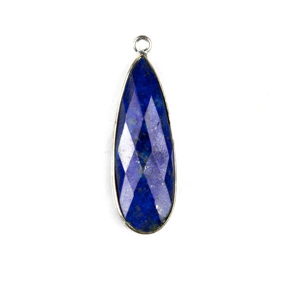 Lapis approximately 11x35mm Long Teardrop Drop with a Silver Plated Brass Bezel - 1 per bag