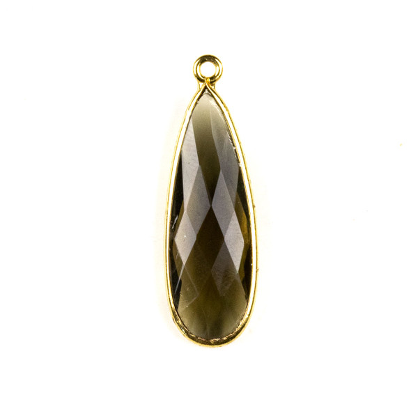 Smoky Quartz approximately 11x35mm Long Teardrop Drop with a Gold Plated Brass Bezel - 1 per bag