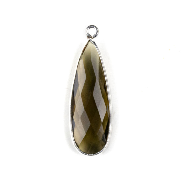 Smoky Quartz approximately 11x35mm Long Teardrop Drop with a Silver Plated Brass Bezel - 1 per bag