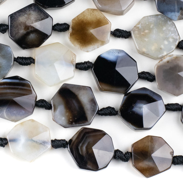 Black and White Banded Agate 22mm Polygon Shaped Beads with Pyramid Facet - 15 inch knotted strand