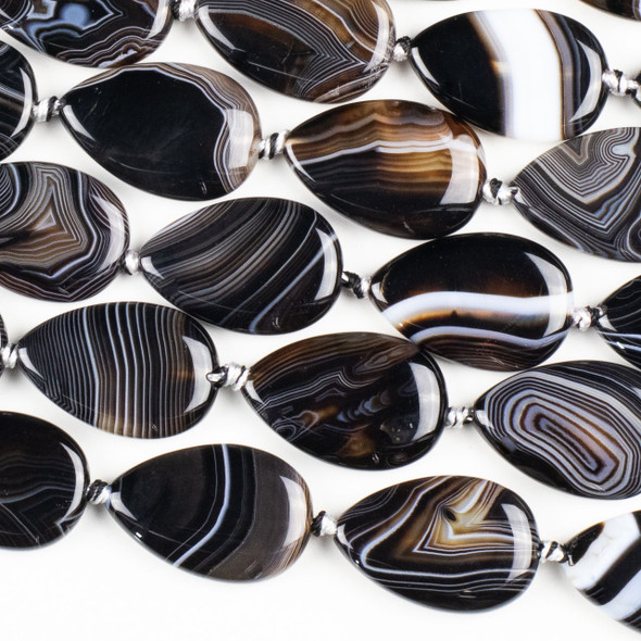 Black and White Banded Agate/Sardonyx 20x29mm Teardrop Beads - 15 inch knotted strand