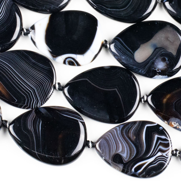 Black and White Banded Agate/Sardonyx 30x40mm Teardrop Beads - 15.5 inch knotted strand