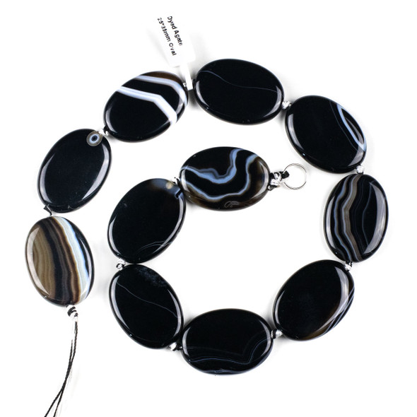 Black and White Banded Agate/Sardonyx 25x35mm Oval Beads - 16 inch knotted strand