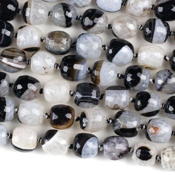 Black and White Agate 13x13mm Faceted Drum Beads - 16 inch knotted strand