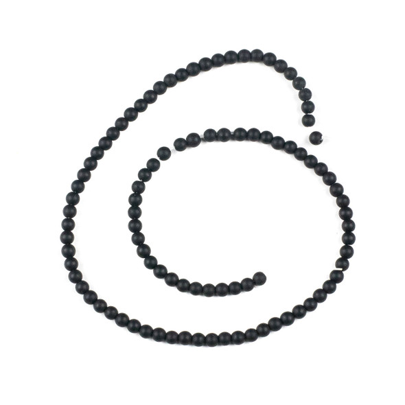 Matte Black Agate 4mm Round Beads - 15 inch strand