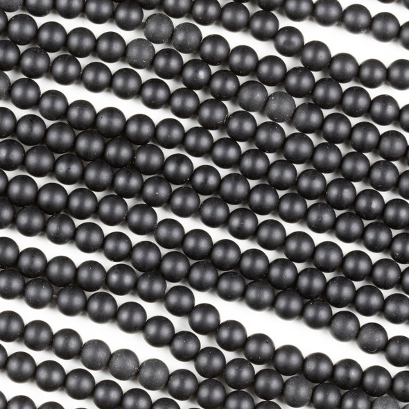 Matte Black Agate 6mm Round Beads - 15 inch strand