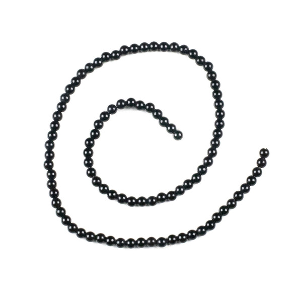 Black Agate 4mm Round Beads - 15 inch strand
