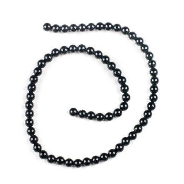 Black Agate 6mm Round Beads - 15 inch strand