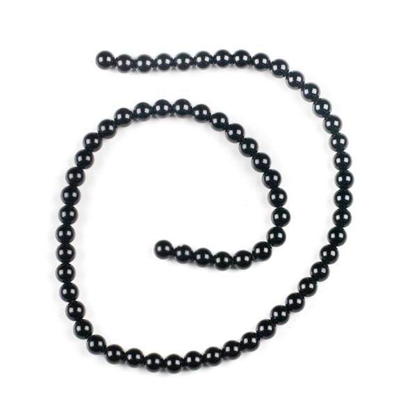 Black Agate 6mm Round Beads - 15 inch strand