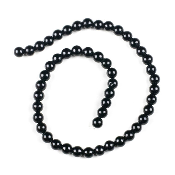 Black Agate 8mm Round Beads - 15 inch strand